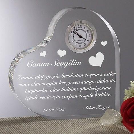 Aşk Mesajlı Kalp Saati