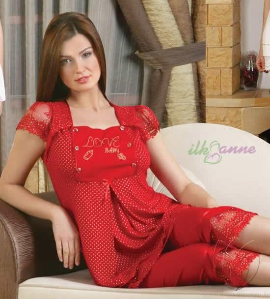 Bermuda Marka Kırmızı 2014 Lohusa Pijama Modelleri