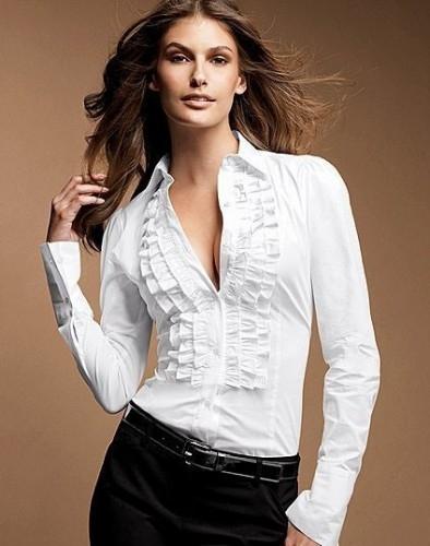Beyaz Klasik Trend Bayan Gömlek Modeli