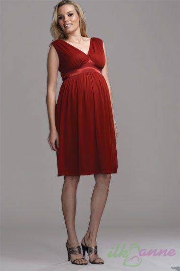 Kırmızı Renkli Şifon Gebe Elbisesi
