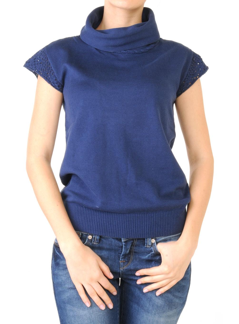 Kısa Kollu Boğazlı Bayan Mavi Kazak Modeli