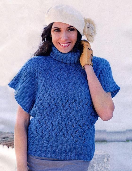 Kısa ve Geniş Kollu Mavi Renkli 2014 Örgü Bayan Kazak Modeli Örneği