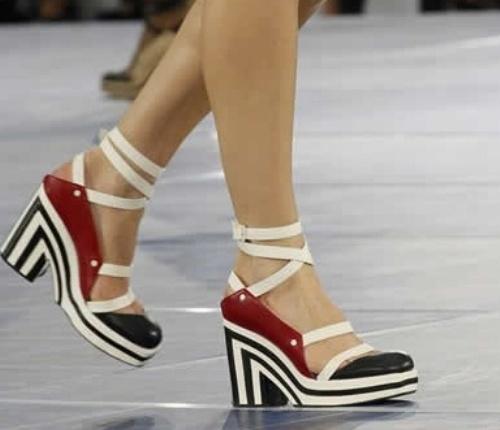 Lacivert ve Beyaz Çizgili 2014 Yazlık Bayan Ayakkabı Modeli