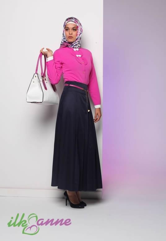 Lacivert ve Pembe Kombinli Papyon Detaylı Tekbir Tesettür Elbise Modeli 140 TL