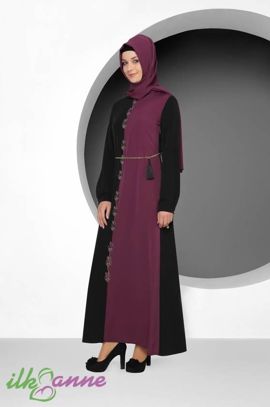 Lapis Kumaş Desenli Trend Tekbir Tesettürlü Elbise Modeli 184 TL