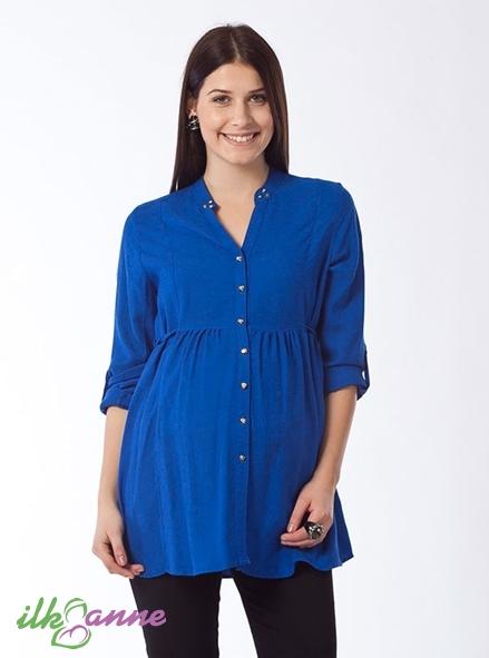 Mavi Dik Yaka Hamile Tunik Modeli