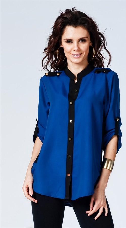 Mavi ve Siyah Renkli Metal Düğmeli Kadın Gömleği