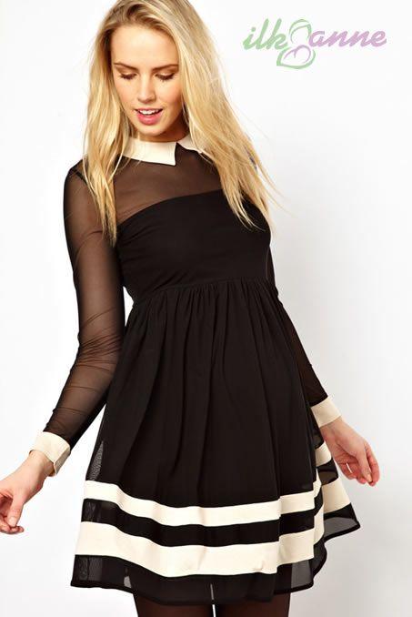 Siyah Renkli Kısa Etek Şirin Hamile Abiye Modeli