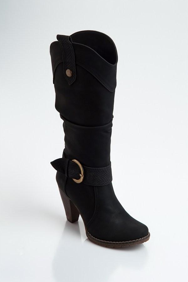 Siyah Topuklu Çizme Modelleri