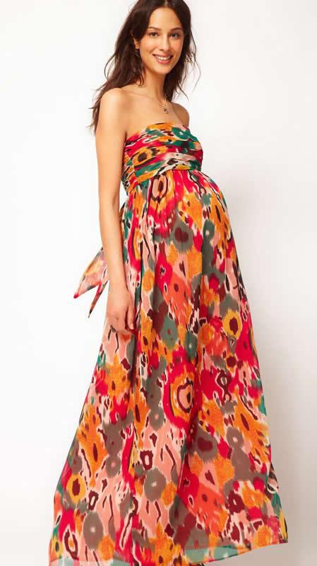 Straplez Renkli Yazlık Hamile Kıyafeti