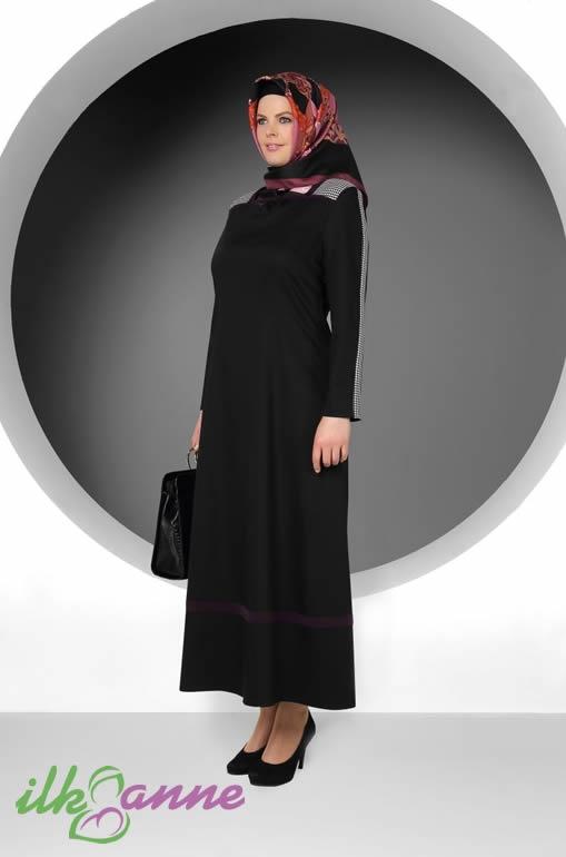 Tek Renk Siyah Sade Tekbir Bayan Elbise Modeli