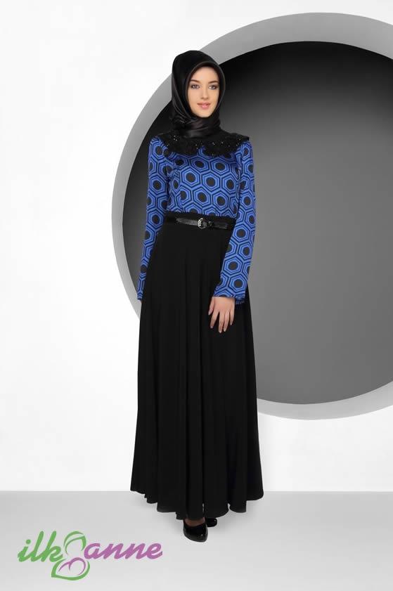 Tekbir Venüs Siyah Etekli Tesettürlü Bayan Elbise Modeli 202 TL