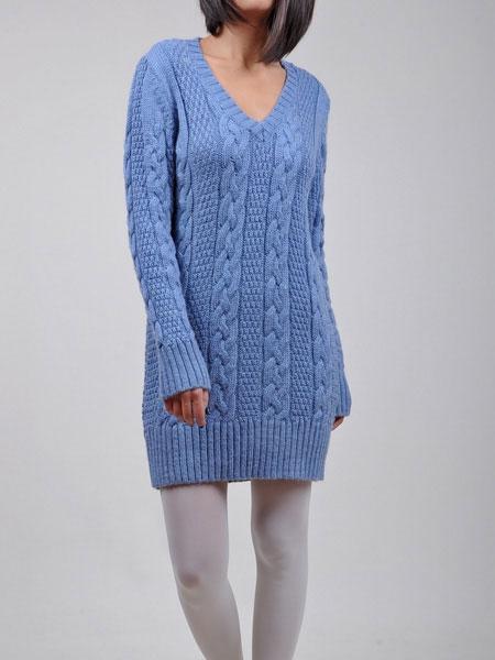 Tunik Tarzında Uzun Kollu Mavi Kazak Modeli