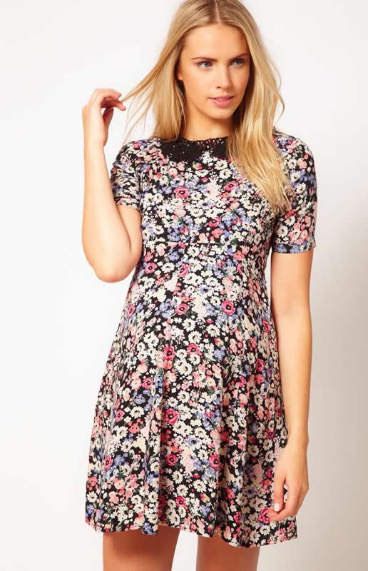 Yazlık 2014 Çiçek Desenli Gebe Kıyafeti Modeli